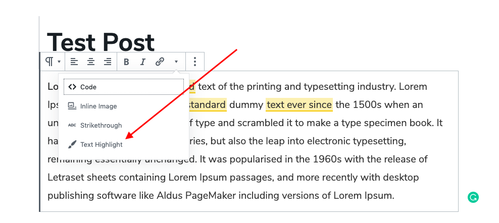 Rich Text Toolbar - Text Highlight