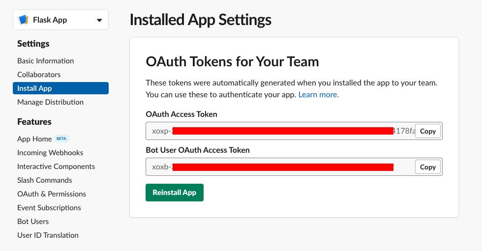 Slack App OAuth Token